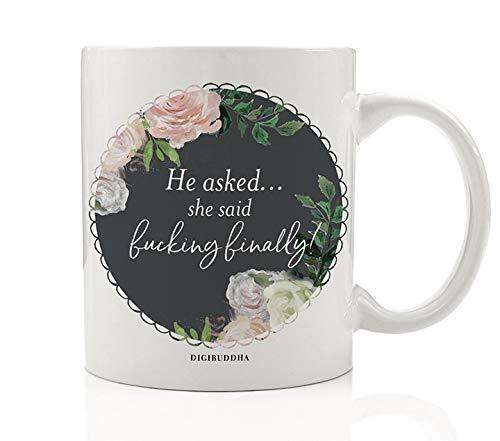 fucking finally sassy mug gift idea for engagement bachelorette parties wedding bridal shower favors congratulations engaged