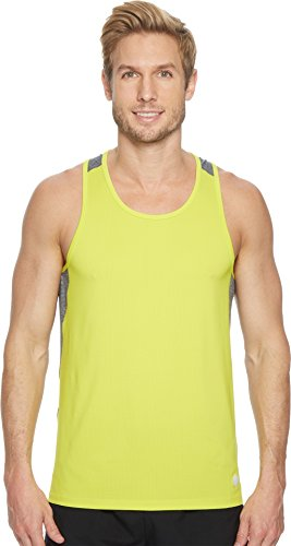 Mesh Fit Dri Singlet - ASICS Men' Ventilated Singlet, Sulphur Spring, X-Large