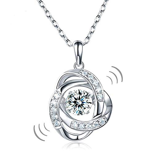 Nattaphol Star Dancing Stone Pendant Necklace Solid 925 Sterling Silver Good for Wedding Bridesmaid Gift