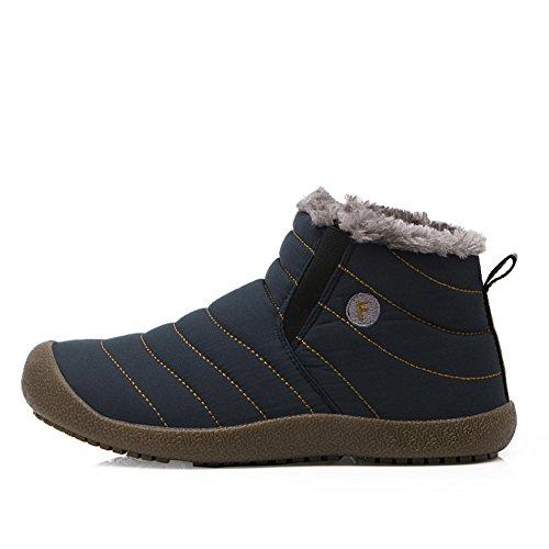 Pantofole Da Uomo Impermeabili Yiruiya Fodera In Pelliccia Antiscivolo Blu