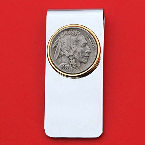 US 1938 Indian Head Buffalo Nickel 5 Cent Coin Solid Brass Gold Silver Two Tone Money Clip New - High Quality ()