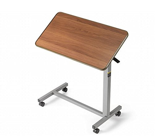 Medical Deluxe Tiltable Overbed Bedside Table w One-touch Height Adjustment Feature (Hospital and Home Use)