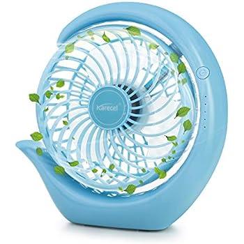 Battery Operated Fan Rechargeable Small Fan, Karecel Portable USB Desk Fan 3 Speeds Strong Wind Personal Quiet Fan, Long Life Battery Powered Fan & Strong Cooling Desktop Fan for Camping Office Travel