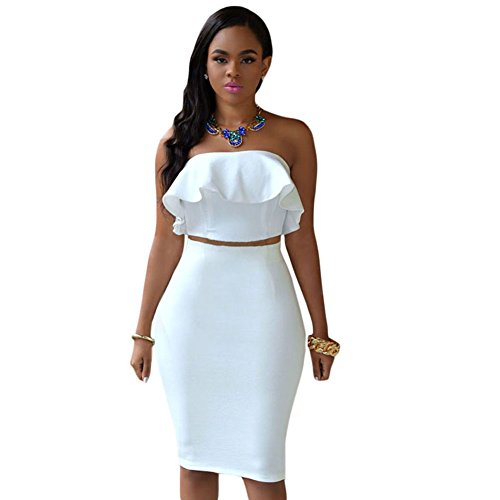 Kalin Women's Ruffle Crop Top Maxi Skirt Set 2 Piece Outfit Bandage Nightclub Dress (XL, ()