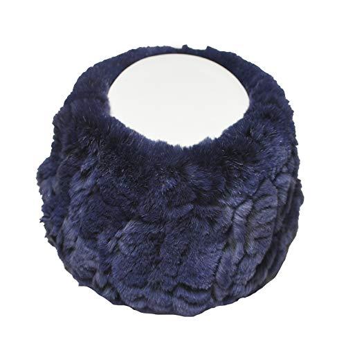Headband Rabbit Rex Fur - Yosang Knitted Rex Rabbit Fur Convertible Neck Warmer Scarf and Headband Blue