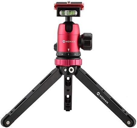 Moman Tischstativ mit Kugelkopf, Mini Kamera Stativ mit 360° Stativkopf, 1/4 3/8 Schraubbefestigung, CNC Aluminium 10kg Nutzlast für Canon Sony Nikon Panasonic DSLR Kamera, Smartphone, Gimbal