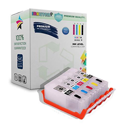 Canon Inkjet Refill Kits - INKUTEN 5 Refillable Cartridges for PGI-250 CLI-251 Auto Reset Chips (ARC) for MX922 iP8720 iX6820 MG5420 MG5422 MG5520 MG5522 MG5620 MG6320 MG6420 MG6620 MG7120 MG7520 MX722