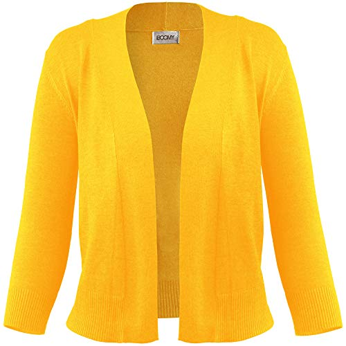 FASHION BOOMY Women's Open Front Cropped 3/4 Sleeve Casual Soft Knit Sweater Classic Basic Bolero Cardigan (Medium, Yellow) - Cropped 3/4 Sleeve