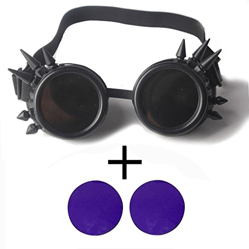 OMG_Shop Rivets Steam Punk Glasses DIY Color Glasses Glasses Cosplay Props Windproof Dust Punk Goggles (Purple - Cn B-sunglasses