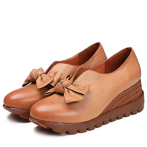 en marron cuir couleur Chaussures enfiler Zhrui Talon Bowknot Femme eu Jane marron à taille Mary compensé 38 xUqTfwUzg