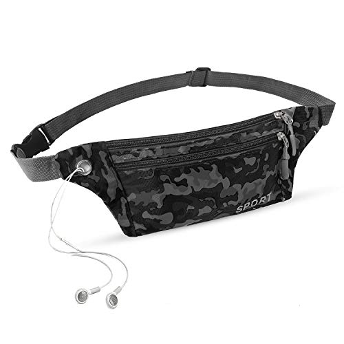 Melveiry 3 Pocket Small-Sized Camouflage Fanny Pack Portable Waist Bag with Waterproof Fabrics Easy Outdoor Sports Shopping Travel Holiday Bags for Men and Women Nylon (Camouflage-Black)