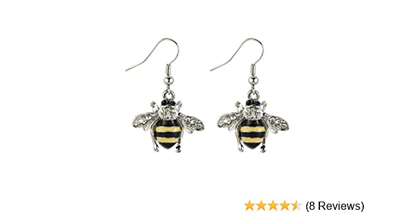 Drop Earring Bee Made With Crystal Glass /& Tin Alloy by JOE COOL