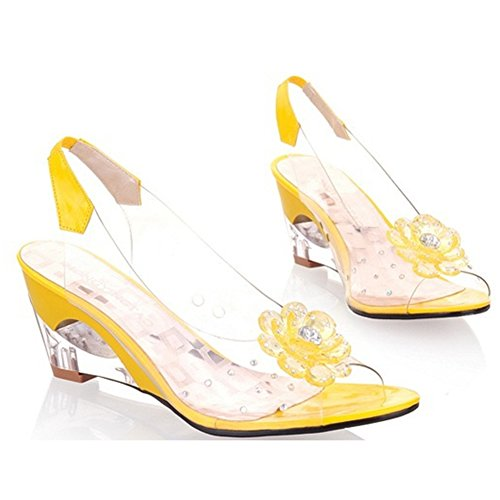 Sexy Crystal Ladies Mouth Fish Sandals T Delicate Yellow Wedges Womens JULY Fashion Roman Slide Sandals Flower qwXxpBaI