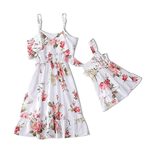 Me Mommy and Me Dresses Casual Floral Printed Ruffles Strappy Summer Matching for Mother and Daughter (White, Women: L)