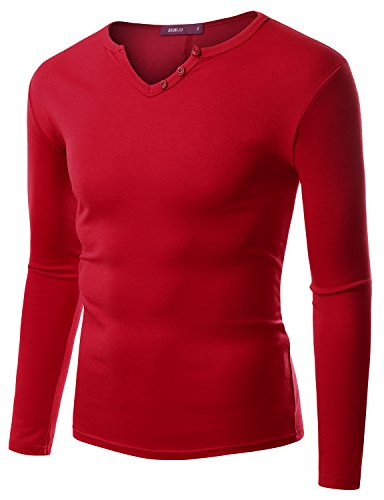 Doublju Men Casual Longsleeve Slim Fit T-Shirt With Button Placket Red,S