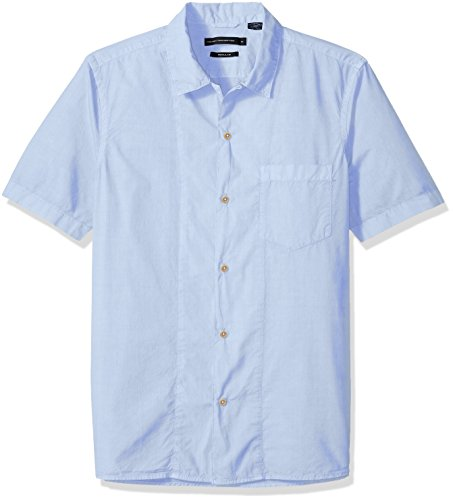 French Connection Men's Overdyed Poplyn Short Sleeve Button Down Shirt, Cashmere Blue, L ()