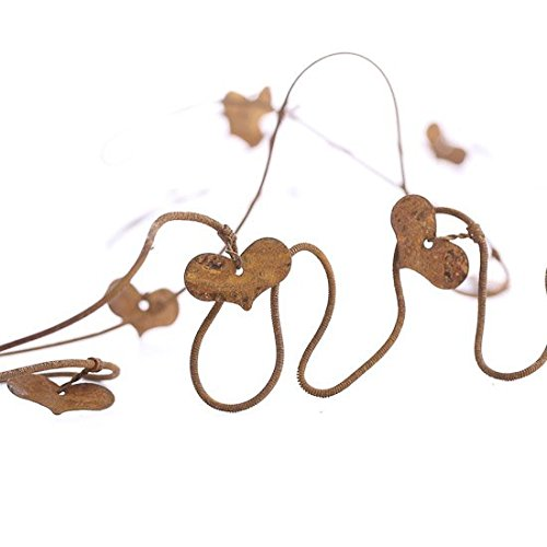 Heart Wire Garland (Trio of Primitive 6 Foot Long Dangling Rusty Heart Wire Garland for Indoor and Outdoor Decor- Package of 3 Garlands)