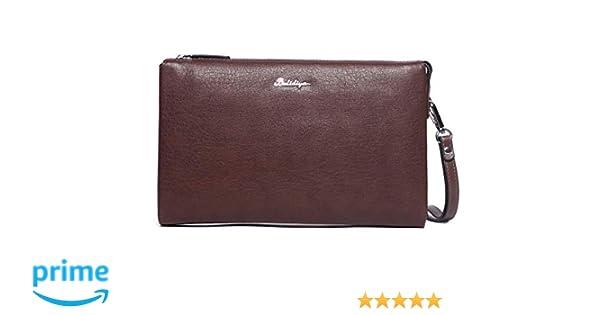 Bolsos de Mano Hombre Piel Vintage Café Carteras Mano de Cuero Retro Grande Clutch Negocios con Cremallera para iPad Tablet Tarjetero Teléfono: Amazon.es: ...