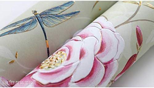 L/Éclat de Verre Papier Libellules /& Roses