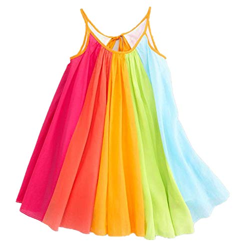 Sunhusing Toddler Adorable Baby Girls Rainbow Chiffon Sling Dress Sleeveless Pleated Tutu Dress (5/6T, Multicolor)]()