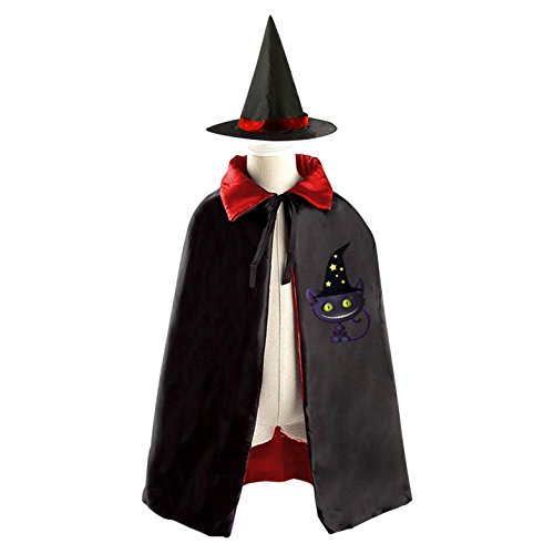 Evil Black Cat Kids Halloween Cloak Witch Reversible Cape and Hat Costumes for Boys Girls (The Cat In The Hat Costume Diy)