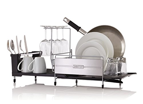 Sabatier 40 Expandable Stainless Steel Dish Rack With Rust Best Sabatier Expandable Dish Rack With Soft Touch Coating