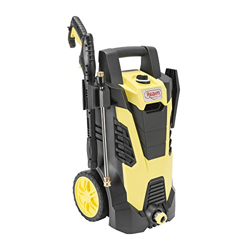 Realm BY02-BCMT Electric Pressure Washer, 2100 PSI, 1.75 GPM with Spray Gun, 5 Spray Tips, Built-in Soap Dispenser, 14.5 Amp, Yellow/Black