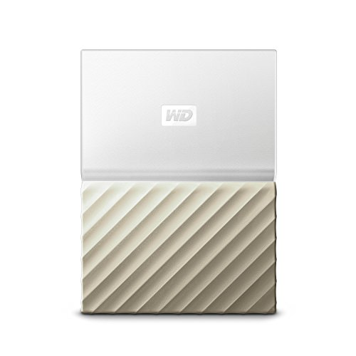 WD My Passport Ultra 2TB External USB 3.0 Portable Hard Drive with Hardware Encryption White-Gold WDBTLG0020BGD-WESN