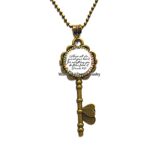 Proverbs 4 23 Bible Verse Above All Else Guard Your Heart for Everything You do Flows from it Key Necklace Glass Charm Gifts,PU364 (Brass)