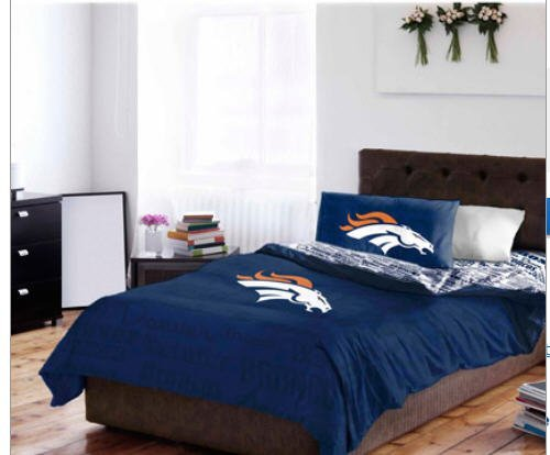 Denver Broncos Full Comforter & Sheets (5 Piece NFL Bedding)