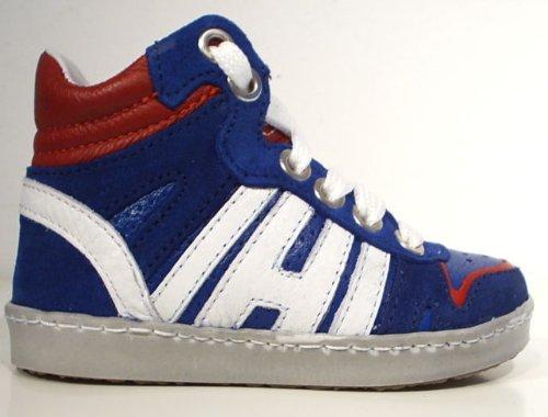 HIP Leder Sneaker Halbschuhe Reißverschluss blau