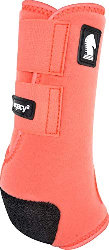 Classic Equine Legacy2 System Hind Boot (Solid), Coral, Medium - Horse Classic Saddle Pads