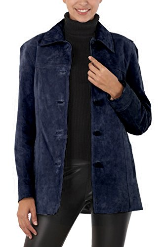 BGSD Women's Anna Suede Leather Car Coat - XL Navy