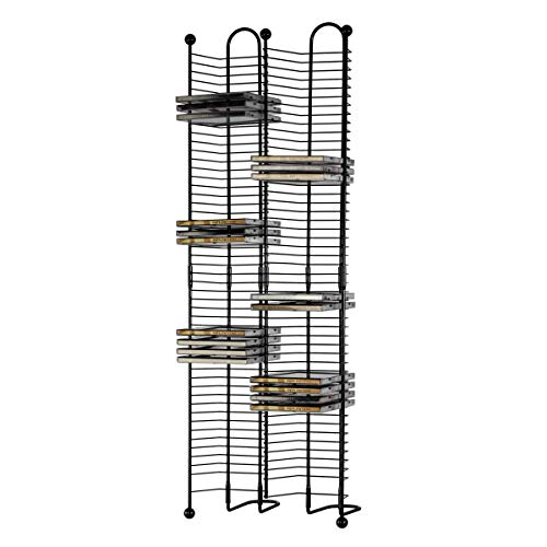 Accents Finish Gunmetal - Atlantic Nestable 100 CD Tower - Holds 100 CDs, Efficient Space-Saving Design, Heavy Gauge Steel Construction, Gunmetal Finish with Cherry Wood Accents, PN63705079