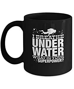 Underwater Superpower Breathe Coffee Mugs for Swimmers and Divers - Black Coffee Tea Mugs - 11 OZ Black Coffee Mugs and Tea Cups Gift Ideas