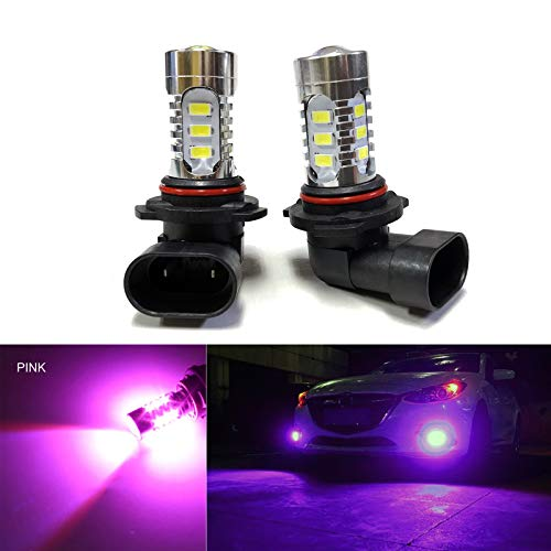 SOCAL-LED 2x H10 9145 LED Fog Light Bulb 15W SMD 5730 12V High Power Bright DRL Bulbs, Pink