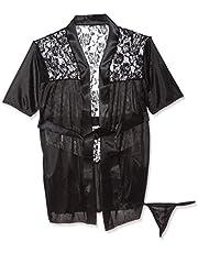 ازياء انيقة / ملابس داخلية / ملابس نوم / ملابس تحتية / رداء نوم وملابس جي سترينغ بلون اسود من الساتان
