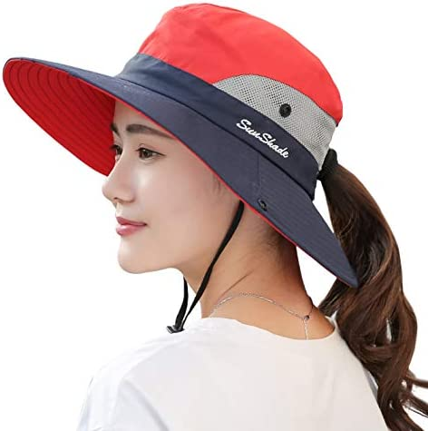 Foldable Fishing Cap with Adjustable Chin Strap Summer UV Protection Beach Caps for Camping Hiking zhuochuan Outdoor Wide Brim Sun Protect Hat