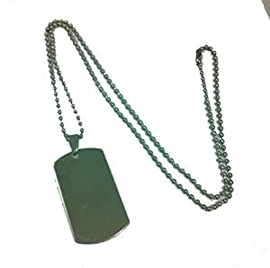 Military Army Stainless Steel ID Dog Tag Pendant Necklace