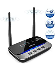Bluetooth 5.0 Transmitter Receiver,Wireless Bluetooth Audio Adapter with NFC Function,aptX HD&aptX LL(Low Latency),262ft Extra Long Range,Double Pairing ,for TV,PC,Car Music Streaming Sound System