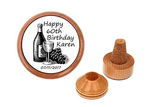 Personalized 60th birthday gift present wine stopper and cork holder.