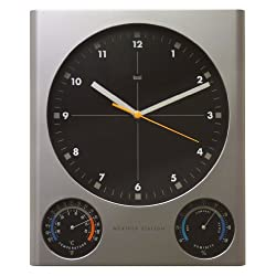 BAI Tank Weather Station Wall Clock, Silver