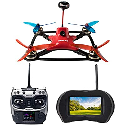 Force1 Racing Drones with VR Headset - DYS Pro FPV Brushless Drone with Camera Live Video, VR Goggles and Remote Control Drone SP F3 Flight Controller by Force1