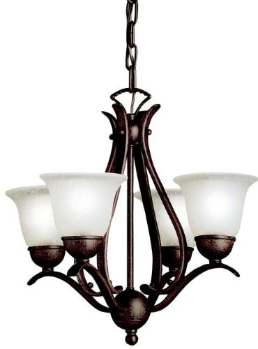 Kichler 2019TZ Dover Mini Chandelier 4-Light, Tannery Bronze