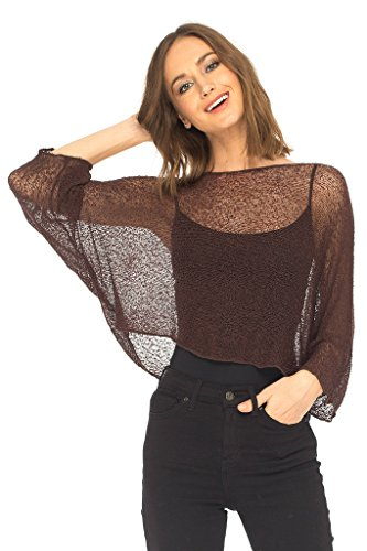 SHU-SHI Womens Knit Lightweight Shrug Sheer Blouse Top Poncho Sweater Brown ()