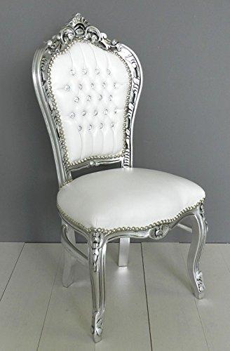 Sedia Barocco stile Luigi foglia argento ecopelle bianca con strass ...