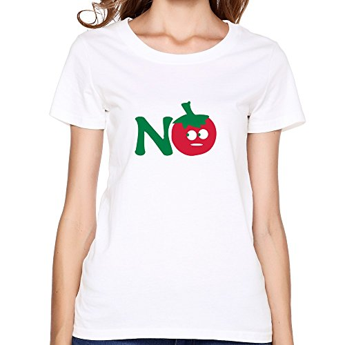 Ladies' Crew-Neck No Tomato Vegetable Tee White M