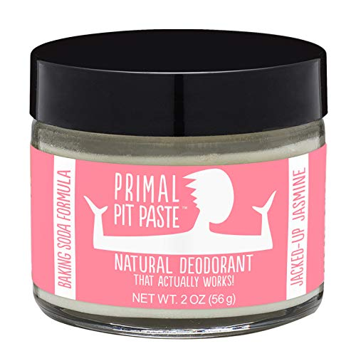 Primal Pit Paste All-Natural Jasmine Deodorant | 2 Ounce Jar | Aluminum Free, Paraben Free | Made for Women and Men of All Ages | Non-GMO, Cruelty Free, Earth Friendly, BPA Free (Glass Charcoal Crystal)