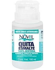 Nuvel Quita Esmalte 100% Acetona, Ideal para Remover Esmalte en Gel, Con Envase Tipo Bomba Anti-Derrames, 180 ml