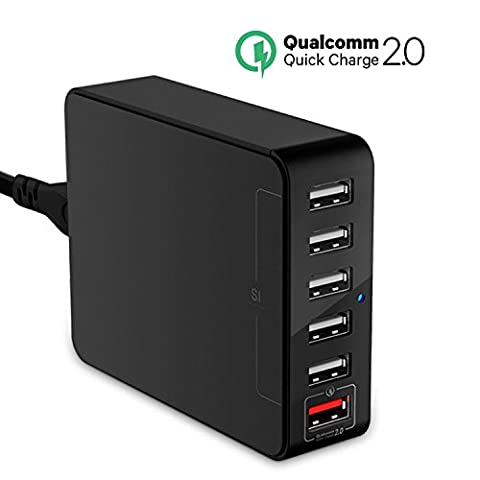 USB Charger, Jelly Comb Desktop Charger : 6-Port USB Charging Station, Charger Hub, Multiple USB Charger, USB Power Adapter for iPhone 7, iPad, Samsung Galaxy S8 S8 Edge, LG G5, Nexus All (Usb Power Adaptor Ipad)